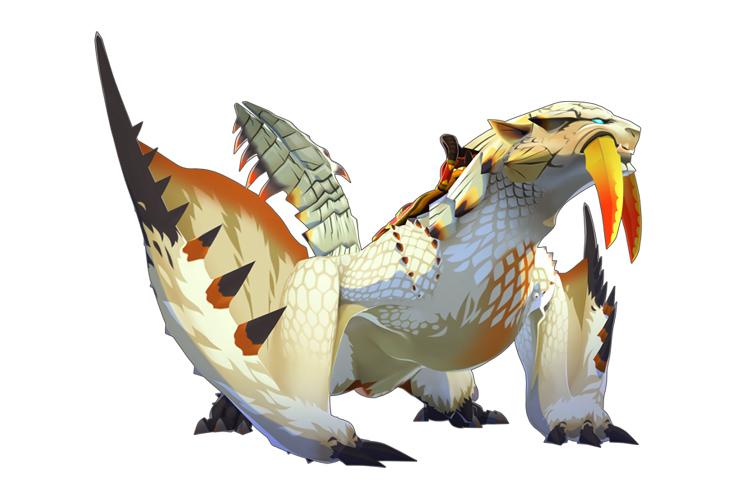 「ベリオロス」:「氷牙竜」と呼ばれる飛竜。氷属性の攻撃を得意とし、氷上を縦横無尽に駆ける