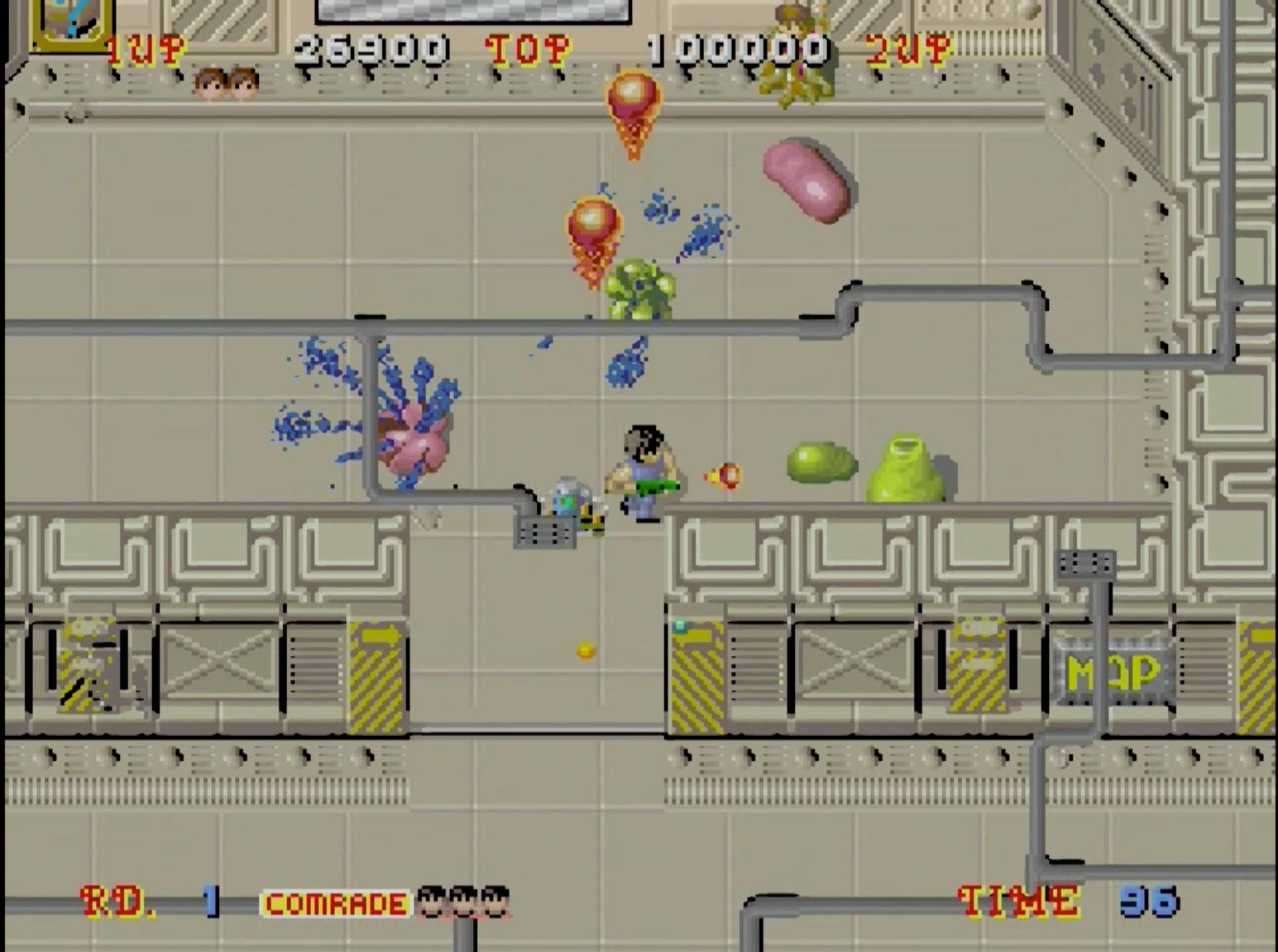 ホラーテイストアクションシューティングゲーム。エイリアンに侵略され、迷路となった宇宙船や宇宙基地を舞台に、囚われた16人の仲間を救出して脱出だ!