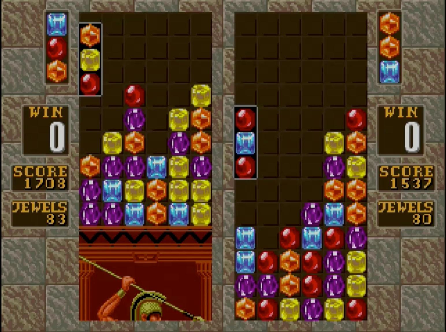 落ちものパズルゲーム第2作。宝石をタテ・ヨコ ・ナナメに3つ以上並べて次々と消していこう! 宝石を消してステージクリアとなる「フラッシュコラムス」や、2人対戦モードの「対戦コラムス」が遊べる