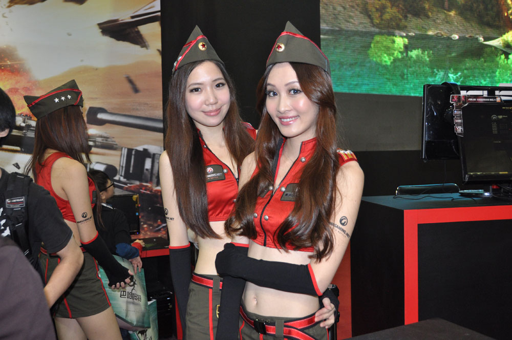 Wargaming.netは「World of Tanks」の中文版クライアントで台湾でのサービスを行なっている。大きな戦車を会場に搬入し、アピールしていた